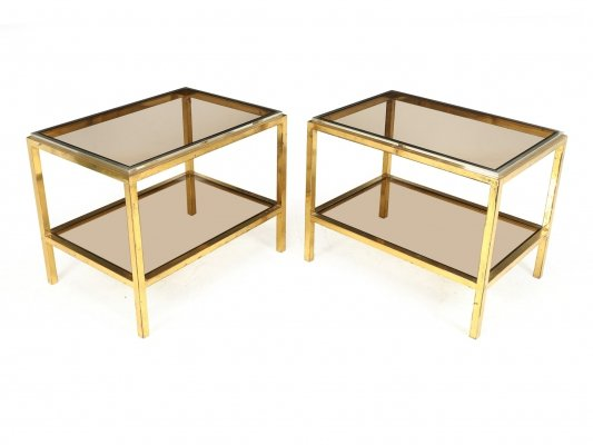 Pair of Glass & Steel Side Tables, c1960