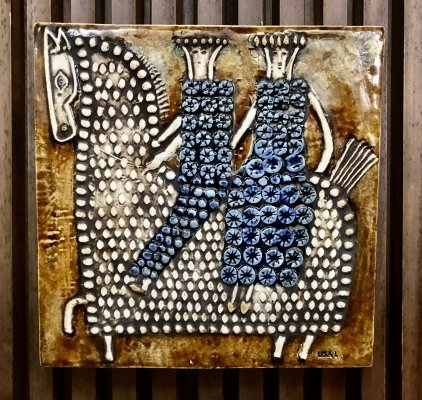 Swedish Ceramic Art Wall Plaque Relief by Lisa Larson for Gustavsberg, 1960s
