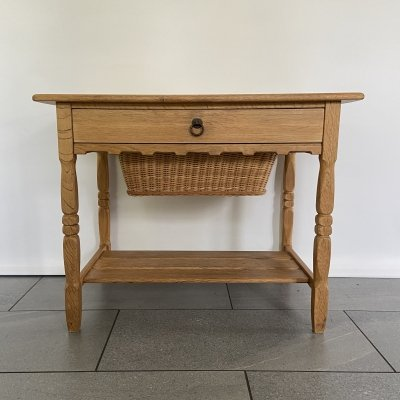 Danish sewing table in quarter sawn white oak, with drawer & a basket