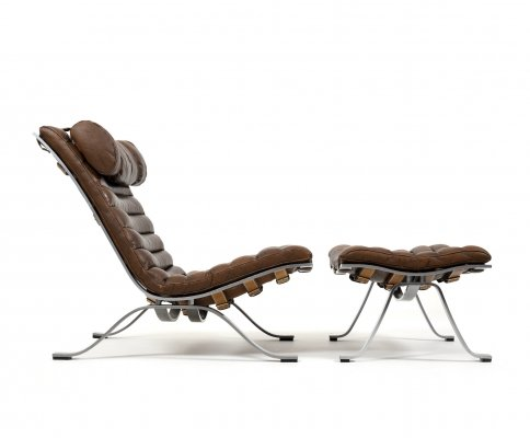 Arne Norell 'ARI' Lounge Chair with Ottoman in Fine Brown Leather