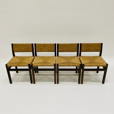 4 'SE82' wengé & wicker dining chairs by Martin Visser for 't Spectrum