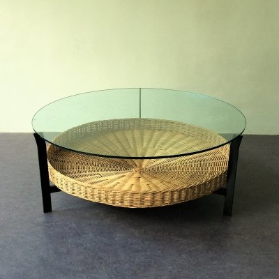 Dutch vintage coffee table with metal frame, wicker basket & glass top