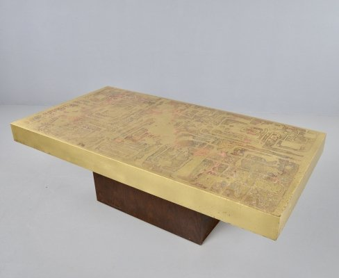 Brutalist metal etched & Oxidized coffee table by Bernhard Rohne, 1960s