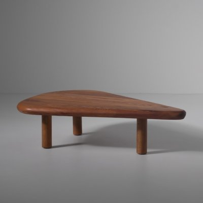 Elm wooden Free form coffee table, France 1970s