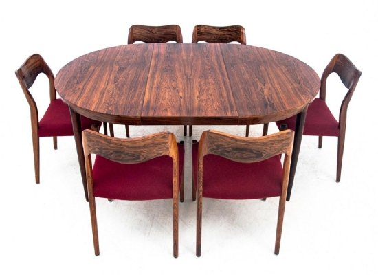 Round table & chairs by Niels O. Møller, Denmark 1960s