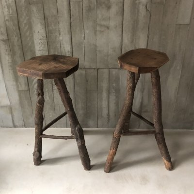 Set of two arts & crafts tree branch barstools