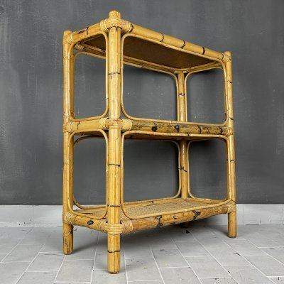 Vintage Bamboo / Rattan shelves, Italy 1960s