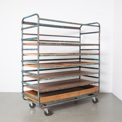 Bread Cart with Wood Trays, 1960s