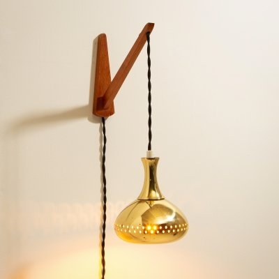 Perforated Brass Pendant Wall Light by Hans-Agne Jakobsson, Sweden 1950s
