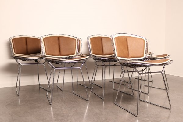 Set of 8 'model 420' dining chairs by Harry Bertoia for Knoll, 1960's