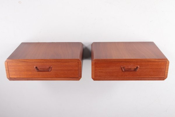 Pair of teak floating vintage wall-mounted night tables with drawer, Denmark 1960s