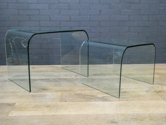 Set of 2 Waterfall tables in curved glass by Angelo Cortesi for Fiam Italy, 1980s