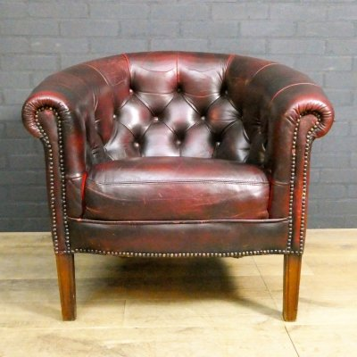 Vintage Chesterfield Tub Chair in Oxblood Red