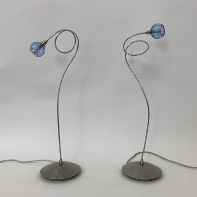 Harco Loor set of 2 blue glass ball table lamp, 1980's