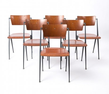 Set of 6 Pyramide chairs by Wim Rietveld for Ahrend de Cirkel, 1960s