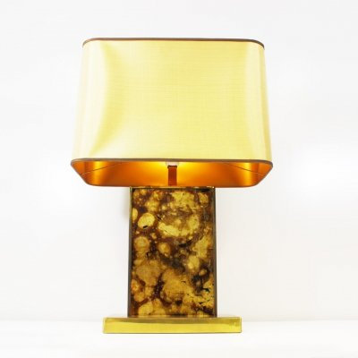 Faux Petrified Wood & Brass Table Lamp, 1970s