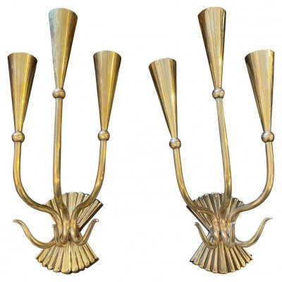 1950s Cesare Lacca set of two Mid-Century Modern Brass Wall Sconces