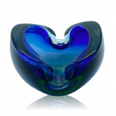 Blue & Turquoise Ashtray / Empty pockets in Murano glass by Seguso, 1960s