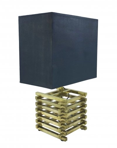 Gold painted brass Romeo Rega table lamp with black square lampshade, 1960s