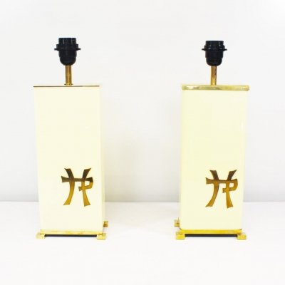 Pair of Table lamps by Jean Claude Mahey, 1970's