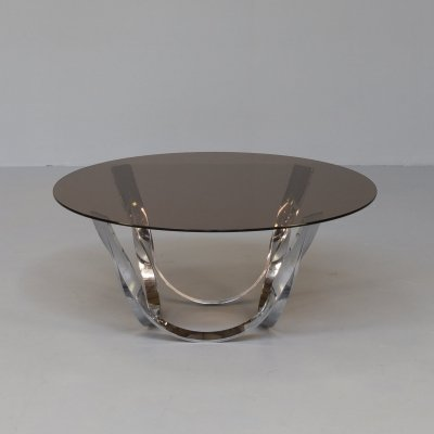 70s Roger Sprunger brass & glass coffee table for Dunbar Furniture