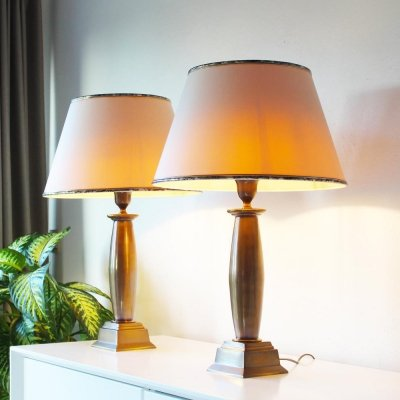 Vintage Brass Pair of Empire Table Lamps, 1970's