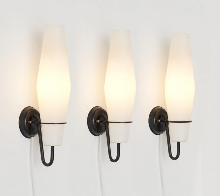 Set of 3 Sconces in Opaline Glass by Raak Amsterdam, Netherlands 1960's
