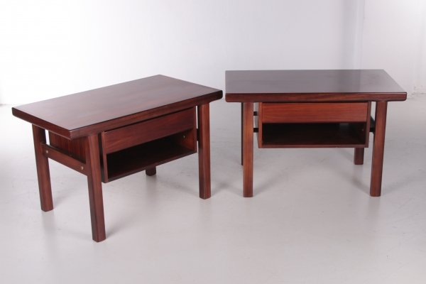 Pair of Bedside tables in Rosewood, 1960s