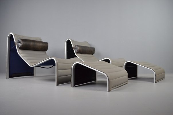 Walter Knoll lounge chairs + ottoman in grey leather, 1980s