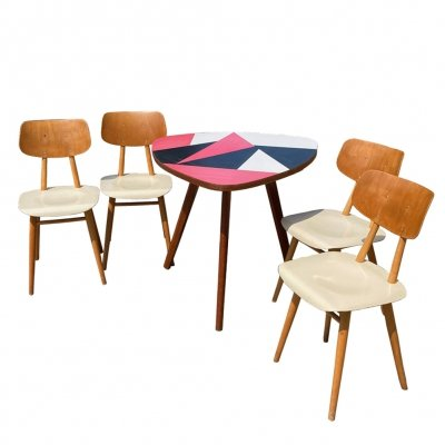 Set of 4 chairs & a coffee-dining table, Czechoslovakia 1960s