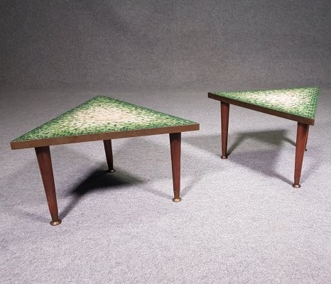 Pair of glass tile mosaic side tables by Genaro Alvarez for Getano Mexico, 1950s