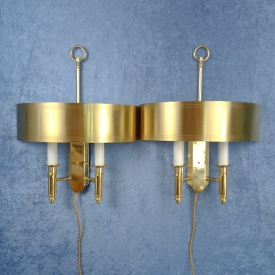 Pair of Theater style brass sconces from ÖIA, Sweden 1970's