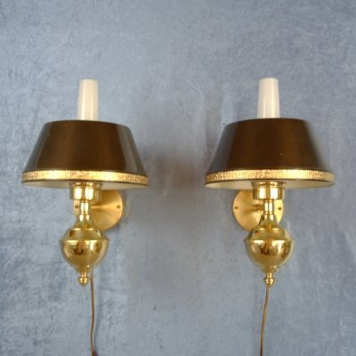 Pair of English style sconces by C. E. Fors for EWÅ Värnamo, Sweden 1970s