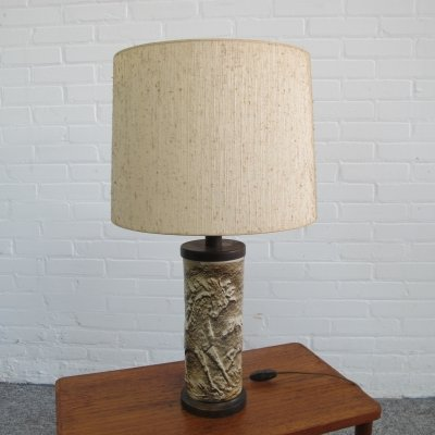 Rare ceramic table lamp with horses, 1960s