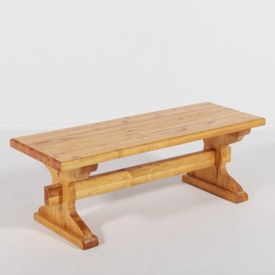 Small solid pine bench-coffee table, Sweden 1980's