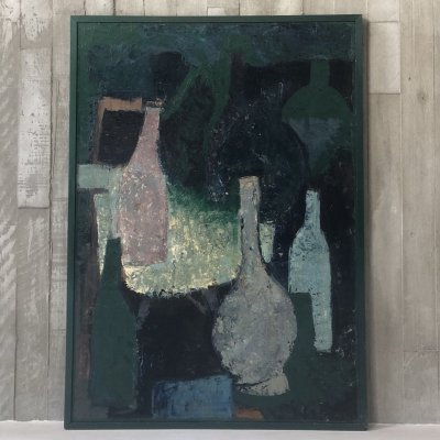 Big oil on canvas abstract still life with painted wooden frame