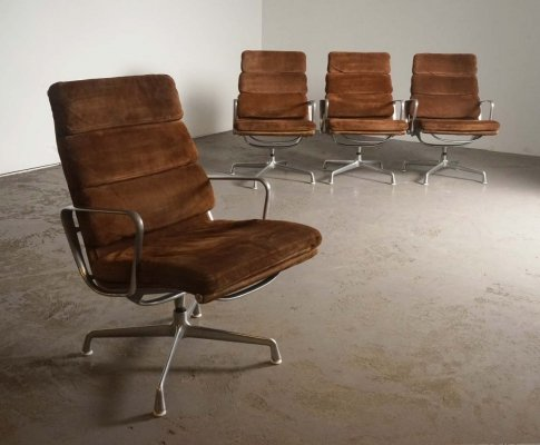 Rare suede EA216 softpad chairs by Eames for Herman Miller, 1970's