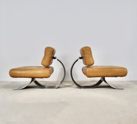 Pair of Lounge chairs in leather & metal, 1970s
