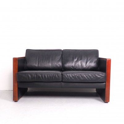 Walter Knoll 2-seats sofa in leather & cherrry wood, 1970's