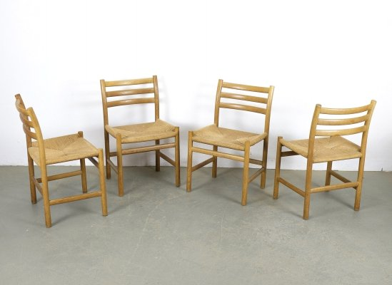 Set of 4 Danish Oak & Papercord Dining Chairs, 1960s