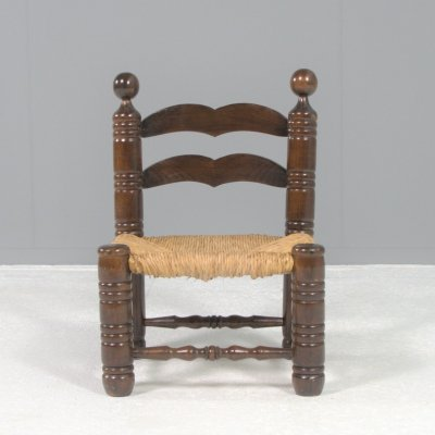 Mid Century Low Rush chair, France 1940s