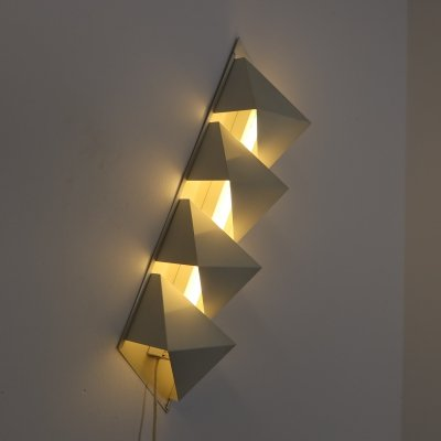 Aluminum Dijkstra wall lamp with fluorescent tube, 1960s