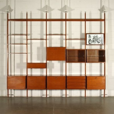 1960s Floor-ceiling bookcase with containers