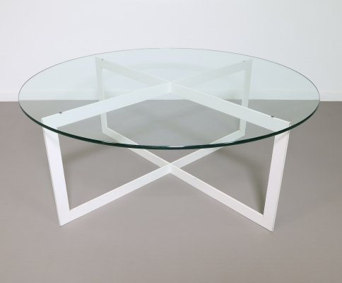 Steel coffee table with a glass top, 1950s