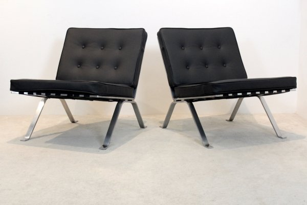 Set Hans Eichenberger Leather & Stainless Steel Lounge Chairs for Girsberger