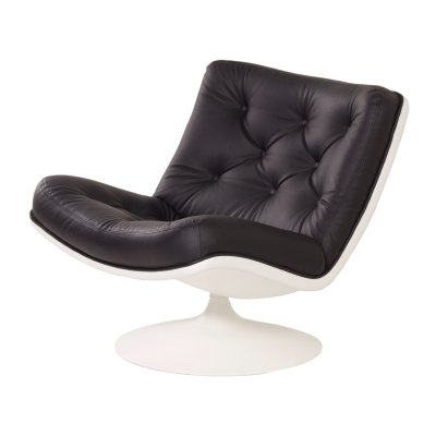 Black Leather 976 Swivel Chair by Geoffrey D. Harcourt for Artifort, 1960s
