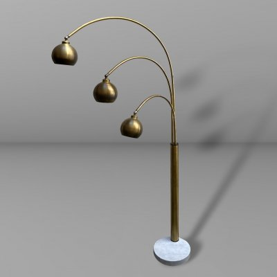 Three lights Reggiani floor lamp in brass with white marble base, 1970s