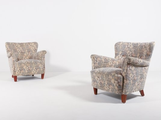 Swedish Modern lounge armchairs in floral fabric upholstery, 1960's