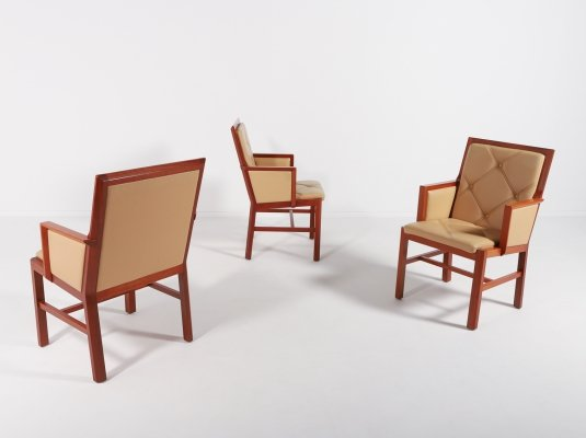 Set of 3 Bernt Andersson armchairs from Skandi-Form, Sweden 1980s