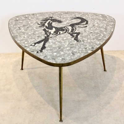 Exquisite Mosaic & Brass Coffee or Side Table by Berthold Müller